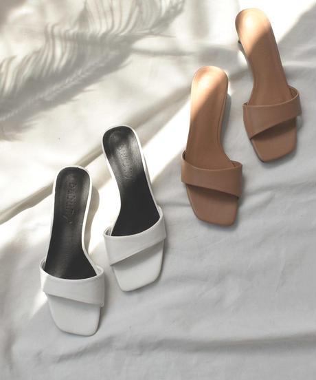 shoes-02100 スクエアトゥ ワンストラップサンダル オフホワイト ベージュ