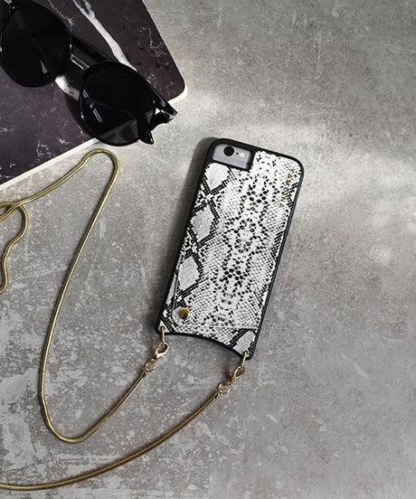 mb-iphone-02503 ショルダーチェーン ホワイトパイソン柄 カード収納付き iPhoneケース