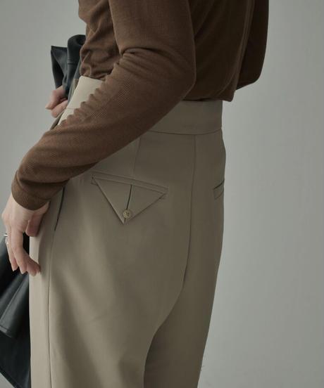 bottoms-02093 ウエストデザイン トラウザーパンツ ライトカーキ マスタード