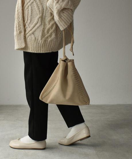 leather-09007 牛革 スエード 2way ステッチ 巾着 バッグ ブラック ベージュ