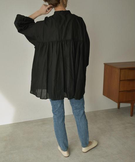 ブラックのみ4月下旬入荷分 予約販売 tops-04073 日本製 コットン ギャザー ボリューム シャツ モカ ブラック