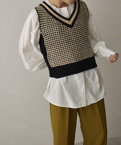 knit-02144 Vネックニットベスト