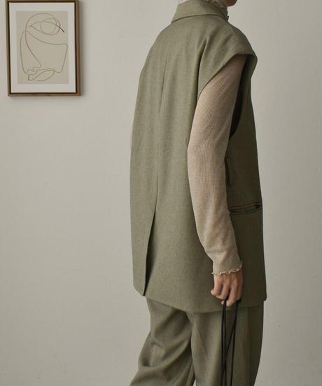 jacket-02002 リネン混 テーラード ボックス ベスト エクリュ オリーブ
