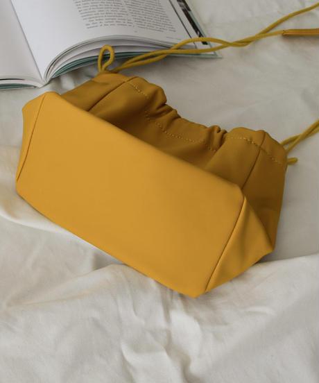 bag2-02490 エコレザー 巾着バッグ イエロー