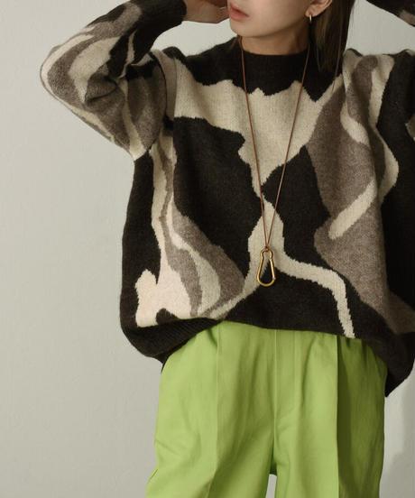 knit-02126 Drawing ニット プルオーバー ブラウン