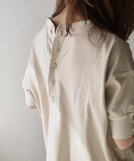 tops-05002 日本製 半袖 バックヘンリーネック Tシャツ
