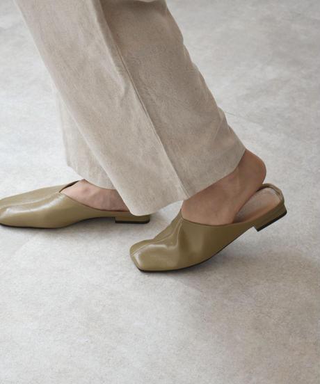 shoes-02109 スクエアトゥ エコレザー スリッパサンダル エクリュ ブラウン ブラック カーキベージュ