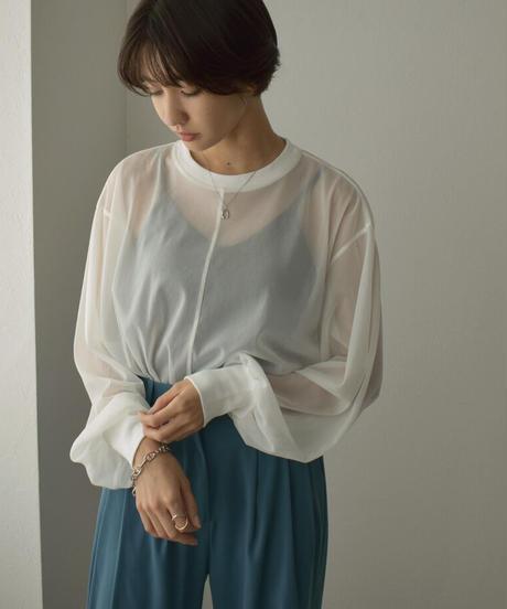 nh-tops-04096 日本製 ボリュームスリーブ シアー プルオーバー ホワイト ベージュ シーグリーン