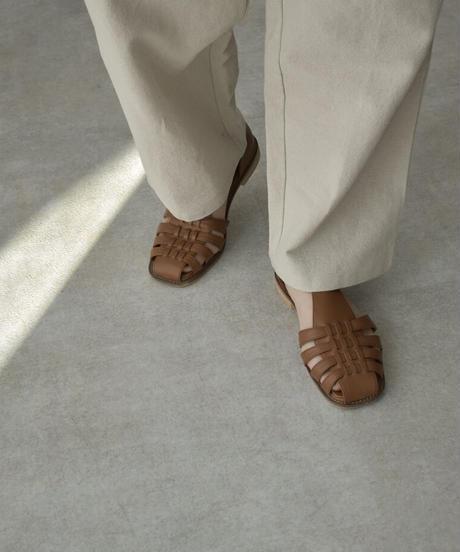 shoes-02125 エコレザー グルカサンダル エクリュ ブラウン ブラック