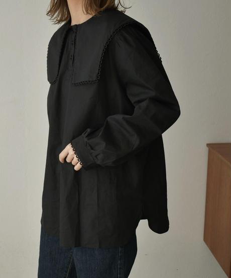 tops-02206 スクエア セーラー カラー ブラウス ブラック