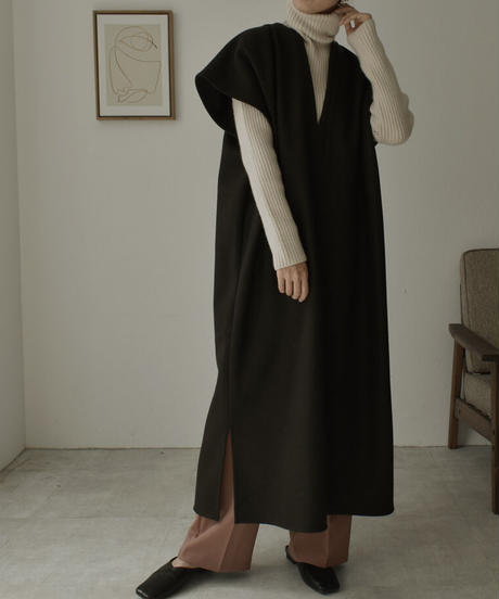 ブラックのみ2月中旬再入荷分 予約販売 onepiece-04031 日本製 ウール混 ニットメルトン カフタン エクリュ ブラック