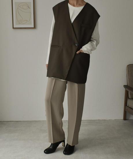 jacket-02003 ノーカラーベスト カーキ モカ ブラック