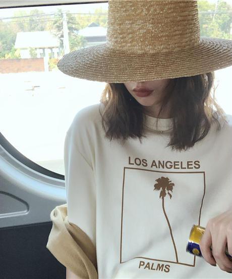 nh-tops-02104 パームツリー オーバーサイズTシャツ クリーム