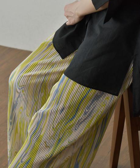 8月上旬から8月中旬入荷分 予約販売 nh-bottoms-02121 マーブリング プリーツ パンツ グリーンイエロー