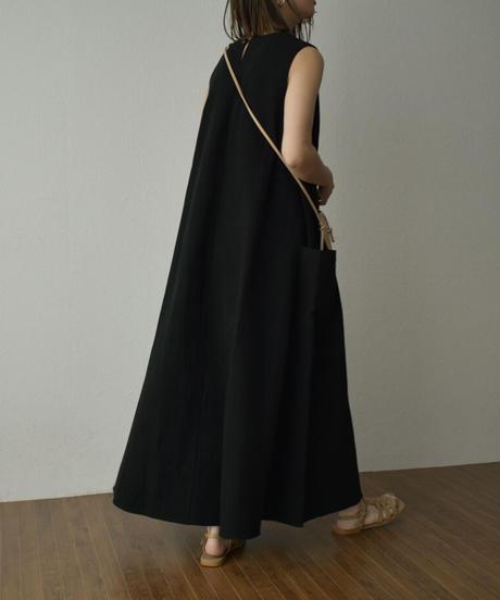 onepiece-07007 リネン混 サイドポケット ワンピース エクリュ ネイビー ブラック