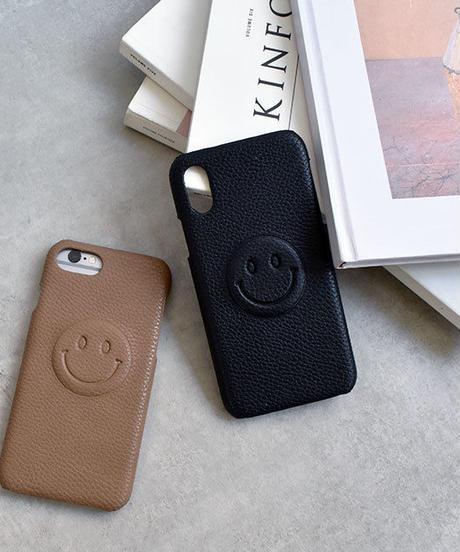 mb-iphone-02502 フェイクレザー シンプルニコちゃん iPhoneケース
