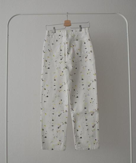 bottoms-02103 ドロッピングデザイン デニムパンツ ホワイト