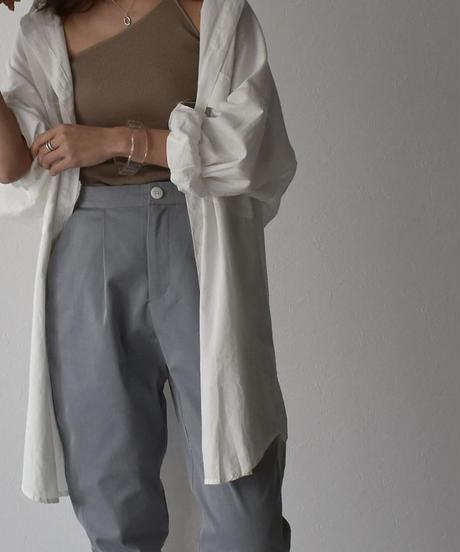 bottoms-02053 裾絞りベルト付き ワンタック テーパードラフパンツ  ライトブルーグレー ネイビー