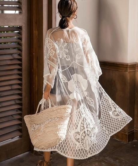 nh-gown-02003 ロングレースガウン カバーアップ レディース