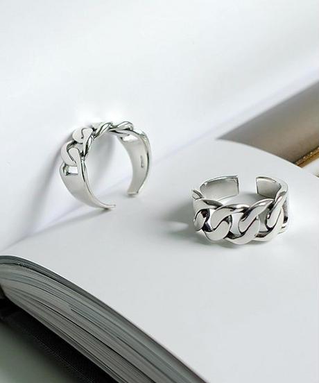 mb-ring2-02038 SV925 チェーンデザインリング 幅10mm シルバー925