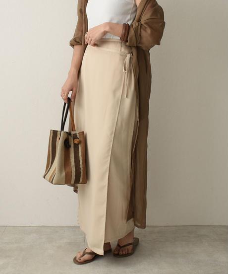 bottoms-04020 日本製 サテン ラップスカート ベージュ パープル