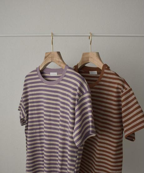 nh-tops-02261 杢カラー ボーダーTEE パープル ブラウン