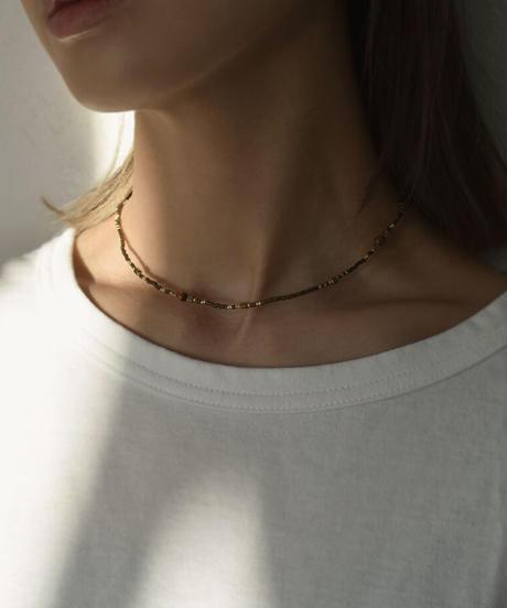 mb-necklace2-02047 ランダムビーズ ショートネックレス ホワイト パープル グリーン モカ ブラウン ブラック