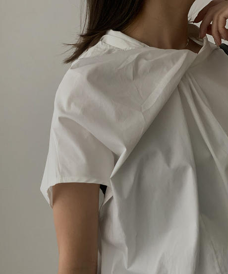 nh-tops-02172 フロントノット シャツ ホワイト ブラック
