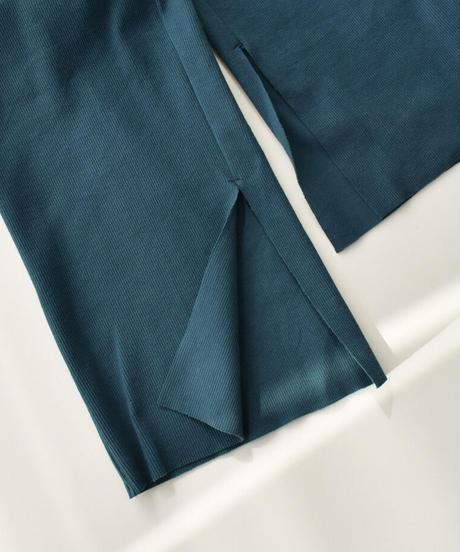 bottoms-04040 日本製 コットンリブ スリットパンツ エクリュ ミント モカベージュ イエロー ターコイズ