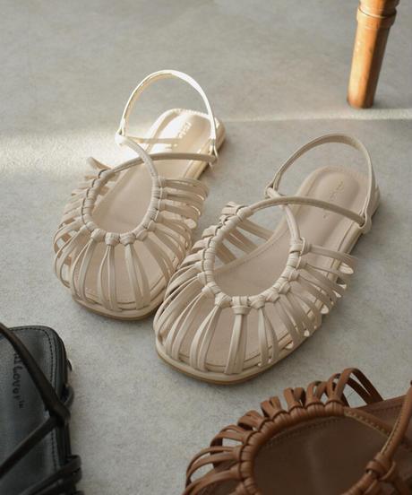 shoes-02126 エコレザー ループブレードサンダル エクリュ ブラウン ブラック