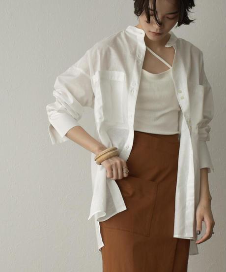 tops-04098 日本製 リネン混 ビッグポケットシアーシャツ オフホワイト クリーム ブラック
