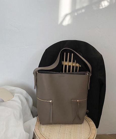 bag2-02423 ジッパーデザイン ショルダーバッグ ポーチ付き
