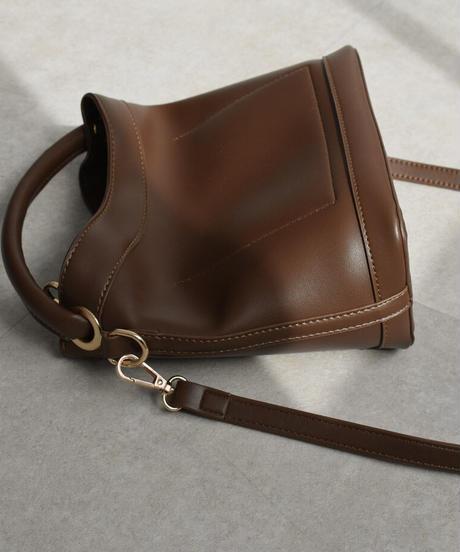 bag2-02531 エコレザー ハンドルトップ ショルダーバッグ ブラック ブラウン