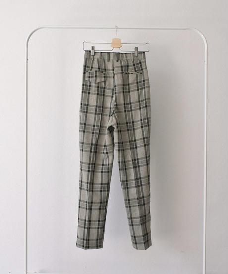 nh-bottoms-02060 チェック セミワイド タック テーパード パンツ  ピスタチオ