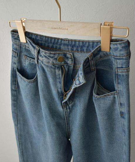 bottoms-02107 ウエストタック テーパード デニムパンツ