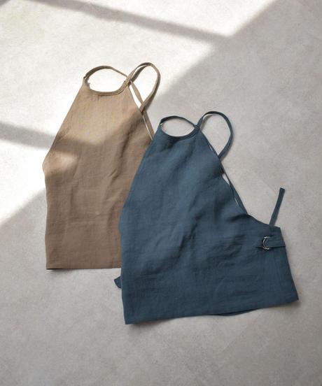 nh-tops-04039 日本製 リネン バックオープン ホルターネック トップス モカ グレイッシュブルー