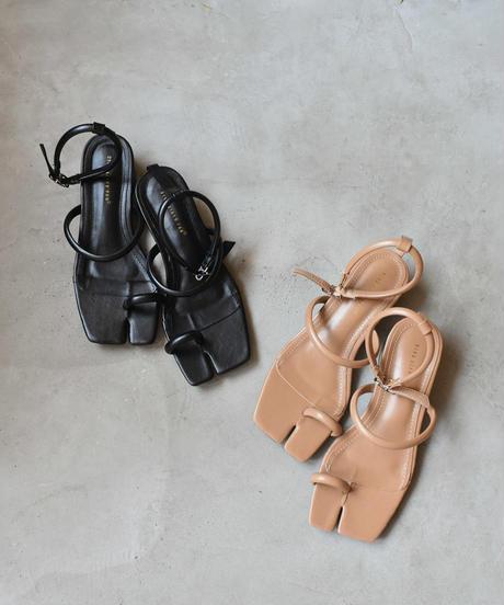 shoes-02113 アンクルストラップ 足袋サンダル  ブラック モカベージュ