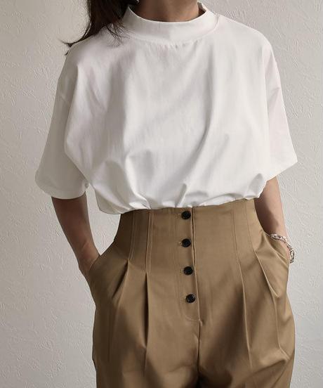 nh-tops-02082 モックネックTシャツ ホワイト ブラック