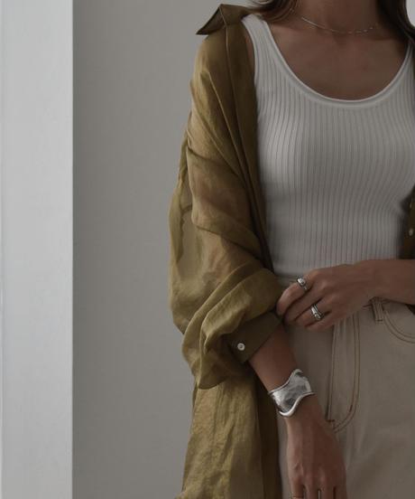 tops-02184 グロスシアーシャツ エクリュ ブルーグレー モカ カーキ