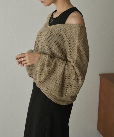 knit-09001 透かし編み 2wayニット カーディガン モカベージュ