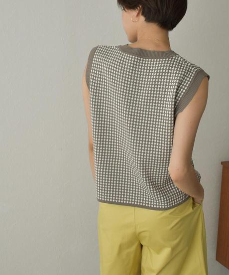 nh-tops-02254 パターン ニットベスト ベージュ モカ サックス ブラック