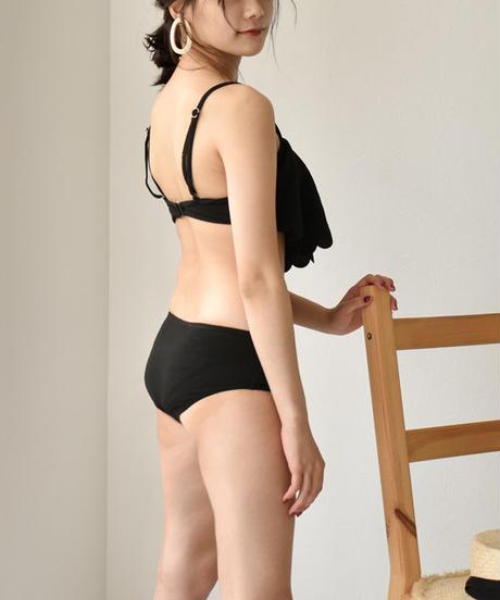 swim-02210  スカラップ ショートパンツ付き バンドゥ ビキニ 3点セット 水着 フリル ブラック