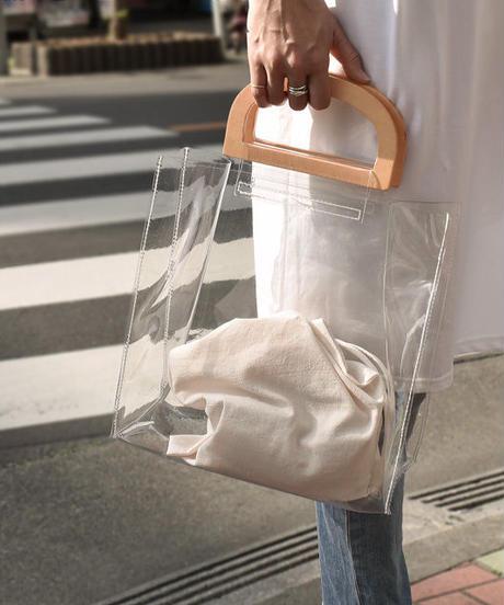 bag2-02457 ウッドハンドル クリアバッグ 巾着付き