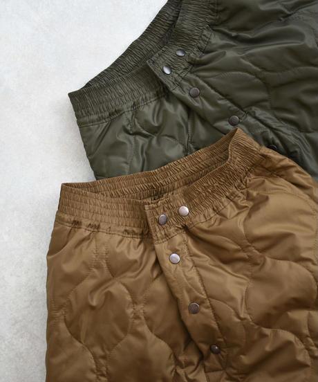 bottoms-04017 日本製 遠赤外線蓄熱保温裏地 キルティングパンツ キャメルカーキ グリーンカーキ