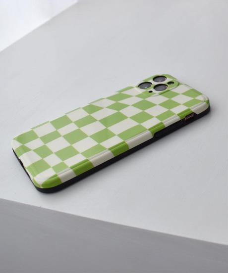 nh-iphone-02608 グリーン チェッカーフラッグ iPhoneケース