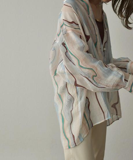 4月下旬入荷分 予約販売 tops-02224 マーブル シアーシャツ