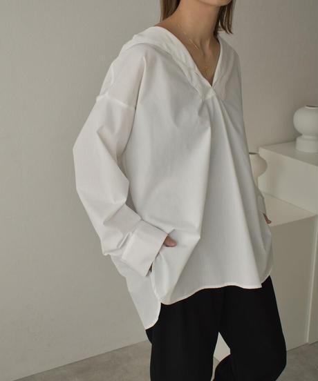 tops-04067 セーラーカラーシャツ ホワイト ブラック
