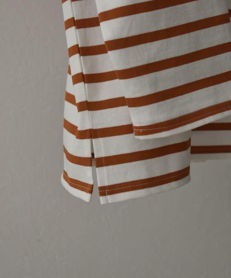 オフホワイト×イエローのみ5月下旬入荷分 予約販売 tops-04082 日本製 オーバーサイズ ボーダーバスクシャツ