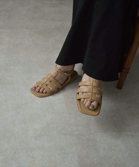 shoes-02129 エコレザー フラット ケージ サンダル エクリュ ベージュ ブラック
