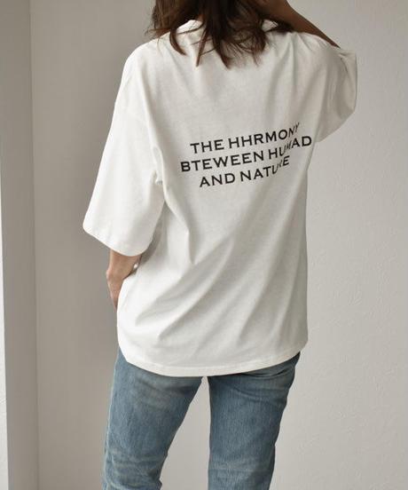 nh-tops-02105 バックプリント メッセージ オーバーサイズTシャツ ホワイト グレージュ チャコール カーキ